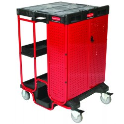 Rubbermaid - 9T58 - Ladder Cart With Cabinet Black Red 42x27x31 500 Pound Rubbermaid, Ea