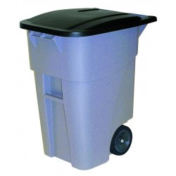 Rubbermaid - 9W27-G - Gray 50 Gallon Brute Rollout Container W/lid