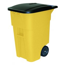Rubbermaid - 9W27-YLW - Yellow 50 Gallon Brute Rollout Cart With Lid