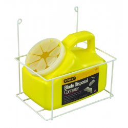 "Stanley / Black & Decker - 11-081 - Stanley 5 1/2"" X 8 1/2"" X 7"" 2 Quart Yellow Plastic Beveled Rectangle Blade Disposal Container With Wire Rack (For Use With Razor And Utility Blade Disposal)"