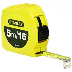 Stanley / Black & Decker - 30-496 - Stanley 3/4' X 16' Yellow ABS Case Yellow Polymer Coated Steel Blade Closed Case Single Side Tape Rule With Inches/Feet/Metric Reading, Slide Forward Lock And Belt Clip, ( Each )