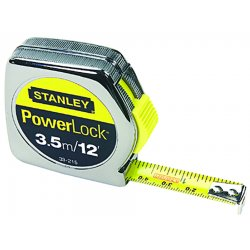 Stanley / Black & Decker - 33-215 - Stanley PowerLock 1/2' X 12' Chrome ABS Case Yellow Polymer Coated Steel Blade Closed Case Single Side Tape Rule With Inches/Feet/Metric Reading, Slide Forward Lock And Belt Clip, ( Each )