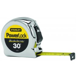 Stanley / Black & Decker - 33-530 - Stanley PowerLock 1' X 30' Yellow And Black ABS Case Yellow BladeArmor Steel Blade Closed Case Single Side Tape Rule With Inches/Feet Reading, Slide Forward Lock And Belt Clip, ( Each )
