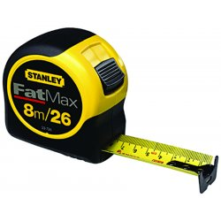 "Stanley / Black & Decker - 33-726 - Stanley FatMax 1 1/4"" X 26' Yellow And Black ABS Case Yellow Polymer Coated Steel Blade Closed Case Single Side Tape Rule With Inches/Feet Reading, Top Forward Lock And Belt Clip"