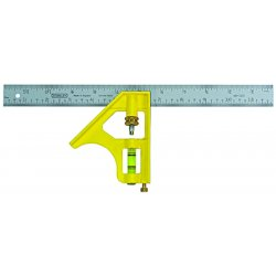 "Stanley / Black & Decker - 46123 - Stanley 12"" Combination Square - 12"" Length - Yellow - Built-in Scriber, Chrome Plated, Rust Resistant"