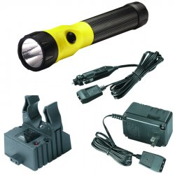 Streamlight - 76163 - Streamlight Yellow PolyStinger Rechargeable Flashlight With LED And 120V AC/DC Steady Charger (3 3.6 Volt Nickel-Cadmium Sub-C Batteries Included)