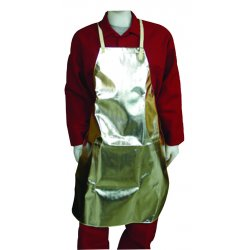 "Stanco - AR36B - Stanco Safety Products 24"" X 36"" 16 Ounce Aluminized PFR Rayon Bib Apron With Leather Ties And Strap"