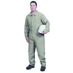 Stanco - NX4681-TN-L - Stanco Safety Products Large Tan Nomex Nomex IIIA Arc Rated Flame Resistant Coveralls With Front Zipper Closure