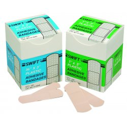 "Swift First-Aid - 010045 - 3/4"" X 3"" Plastic Strips100/bx"