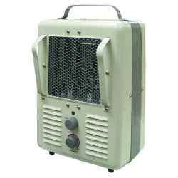 """TPI - 188TASA - 10"""" x 9-1/2"""" x 16"""" Radiant and Fan Forced Non-Oscillating Electric Space Heater, White/Gray, 120VAC"""