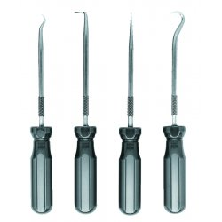 Ullman - PSP-4 - 4-Pc High Carbon Polished Steel Hook and Pick Set with Screwdriver Handles (MOQ=12)