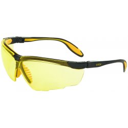 Honeywell - S3522 - Uvex By Honeywell Genesis X2 Safety Glasses With Black And Yellow Polycarbonate Frame, Amber Polycarbonate Ultra-dura Anti-Scratch Lens And Adjustable Soft Flexible Fingers On Nose Piece
