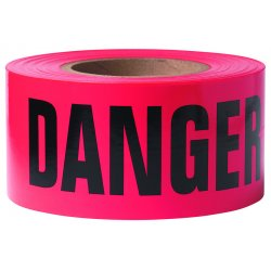 Presco - B3103R21 - Barricade Tape Danger 3 In W X 1000 Ft Long 3 Mils Polyethylene Black Red, Rl
