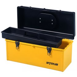 "Waterloo - HP1641 - 16"" Flat Top Plastic Tool Box Black/yell, Ea"