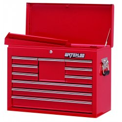 Waterloo - WI-1000 - Chest Top 10 Drawer Waterloo Industries Pro Series 19.8 In Hx26.1 In Wx12.1 In D Steel Red, EA