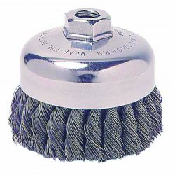 Weiler - 12256 - Weiler 5 X 5/8 - 11 Carbon Steel Single Row .0140 Knot Wire Cup Brush With Internal Nut For Use On Right Angle Grinders, ( Each )