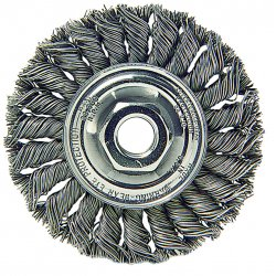 Weiler - 13113 - Right Angle Wheel Brush Medium Knot 1/2 In Wx7/8 In Lx4 In Dia Stainless Steel 0.014 In 20000 Rpm 5/8-11 Weiler Corporation, EA