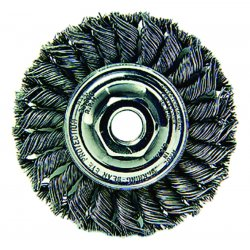 "Weiler - 13120 - Weiler 4"" X 5/8"" - 11 Dualife Mighty-Mite Carbon Steel Standard .0200"" Twist Knot Wire Wheel Brush With Nut For Use On Small And Right Angle Grinders"