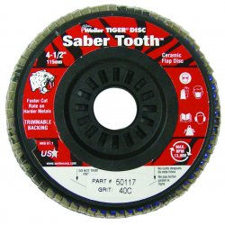 Weiler - 50121 - Arbor Mount Flap Disc, 4-1/2in, 40, Coarse