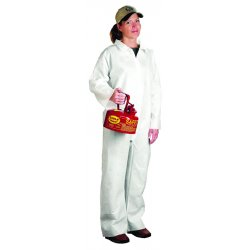 West Chester - 3409/XXXXXL - West Chester 5X White Polypropylene And Polyethylene Film Laminate Disposable Breathable Comfortable Protection Coveralls With Full Length Front Zipper Closure, Attached Boots And Hood, Elastic Ankles And Elastic Wrists (25