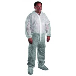 West Chester - 3500/XXXXXL - Sbp White Coverall Zipper Front- Collar