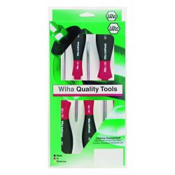 Wiha Quality Tools - 30295 - 5 Pc. Round Blade Ergonomic Cushion Grip Screwdriver Set