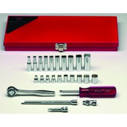 Wright Tool - 223 - Wright Tool 1/4' X 5/32' - 1/2' 23 Piece 6 Point Socket Set (Includes Ratchet, 2' And 6' Extension, Spinner, Universal And Metal Box), ( Each )