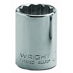 Wright Tool - 4138 - Wright Tool 1/2' X 1 3/16' Chrome Plated Alloy Steel 12 Point Standard Socket, ( Each )