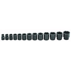 Wright Tool - 415 - Wright Tool 1/2' X 7/16' - 1 1/4' 13 Piece 6 Point Standard Impact Socket Set (Includes Ratchet, 5' Extension, Flex Handle, Universal And Metal Box), ( Each )