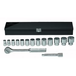 "Wright Tool - 417 - Wright Tool 1/2"" X 7/16"" - 1 1/4"" 15 Piece 12 Point Standard Socket Set (Includes 10 1/2"" Ratchet, 2"", 5"" And 10"" Extension And Metal Box)"