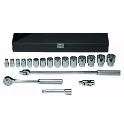 Wright Tool - 422 - Wright Tool 1/2' X 3/8' - 1 1/4' 19 Piece 12 Point Standard Socket Set (Includes Ratchet, Flex Handle, 10' Extension And Metal Box), ( Each )