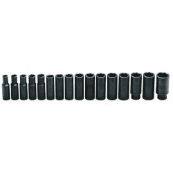 Wright Tool - 467 - 1/2 In. Dr., 16 pc. Impact Metric Socket Set 10 mm to 27 mm, 6 Pt. Deep