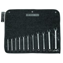 Wright Tool - 750 - Wright Tool 7mm - 19mm Chrome Plated Alloy Steel Wrightgrip 11 Piece 12 Point Metric Combination Wrench Set With 11 Pocket Denim Tool Roll, ( Each )