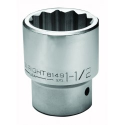 "Wright Tool - 8164 - 2"" Forged Steel Socket with 1"" Drive Size and Chrome Finish"