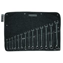 Wright Tool - 914 - Wright Tool Wrightgrip 14 Piece 12 Point Full Polished Combination Wrench Set With 14 Pocket Denim Tool Roll