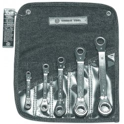 Wright Tool - 9429 - Wright Tool Chrome Plated Alloy Steel 5 Piece 12 Point Offset Pattern Ratcheting Box Wrench Set With (5) Pocket Denim Tool Roll