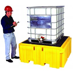 Ultratech - 1158 - Containment Ibc Spillpallet With Drain High Density Polyethylene Yellow 360 Gal 33 In Hx58.75 In Wx58.75 In L Ultratech International Inc, EA