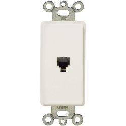 Leviton - 40649-00W - Leviton 40649-W Phone Faceplate Insert - White - 1 x RJ-11 Port(s)