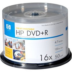 Hewlett Packard (HP) - DR16WJH050CB - HP DR16WJH050CB 4.7GB Printable DVD+Rs, 50-ct Spindle