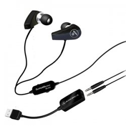 Andrea Communications - P-C1-1025900-50 - Andrea SuperBeam SB-205B Earset - Stereo - Black - Mini-phone, USB - Wired - 32 Ohm - 20 Hz - 20 kHz - Earbud - Binaural - Open - Noise Reduction Microphone - Yes