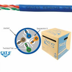 ICC - ICCABR6EBL - ICC Cat.6 UTP Network Cable - Category 6 for Network Device - 1000 ft - Bare Wire - Bare Wire - Blue