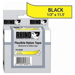 "DYMO - 18490 - Dymo RhinoPRO Wire and Cable Label Tape - 0.50"" Width x 11.50 ft Length - Direct Thermal - Yellow - Nylon - 1 Each"