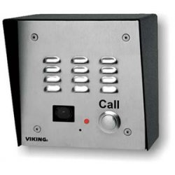 Viking - E-35 - Stainless Steel Handsfree Phone with Dialer and Color Video Camera, Flush Mount with Included Rough-In Box or Surface Mount with an Optional VE-5x5