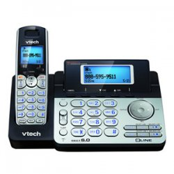 AT&T / VTech - DS6151 - VTech DS6151 DECT 6.0 2-Line Expandable Cordless Phone with Answering System, Silver/Black with 1 Handset - Cordless - 2 x Phone Line - Speakerphone - Answering Machine - Hearing Aid Compatible - Backlight