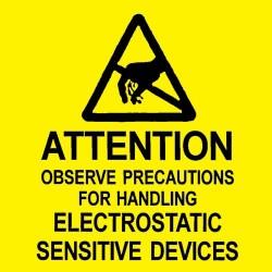 Desco - 06727 - Caution Attention Labels, MIL-STD-129N, 2 x 2, 500/Roll