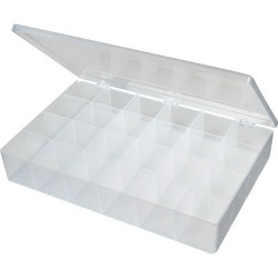 Flambeau - T824 - Compartment Box (I.D. 12-3/4 x 8-1/2 x 2-1/8) with 24 Compartments (I.D. 2-1/16 x 2-1/16) (MOQ=12)