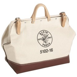 "Klein Tools - 5102-24 - 1-Pocket Canvas General Purpose Wide-Mouth Tool Bag, 15""H x 24""W x 6""D, White"