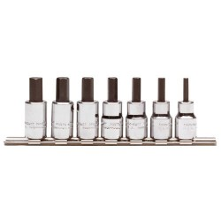 Proto - J4990-MST - Forged Alloy Steel Socket Bit Set with 3/8 Drive Size and Chrome Finish; Number of Pieces: 7