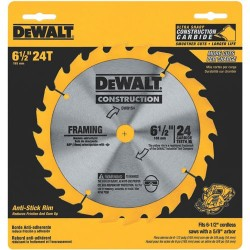 "Dewalt - DW9154 - DeWALT 6 1/2"" X 5/8"" X .039"" 7000 RPM 24 TPI FT Grind Series 20 Tungsten Carbide Tipped Framing Circular Saw Blade (For Wood Cutting)"