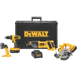 Dewalt - DC4CKITA - 18 V Four Tool (Drill-Driver/Recip/Circular Saw/Floodlight) Combo